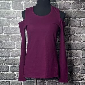 NWT The Limited Plum Ribbed Cold Shoulder Top M